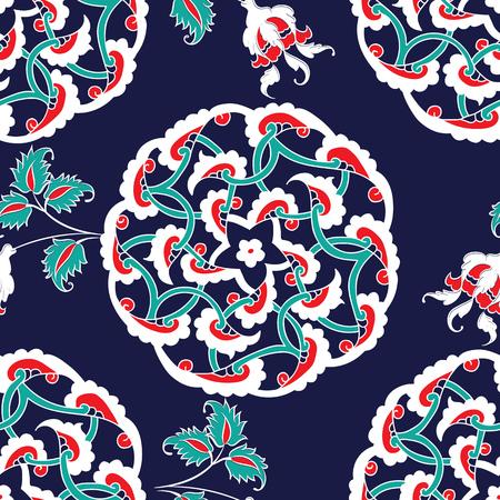 Turkish Iznik tile, seamless islamic pattern with pretty oriental curves and floral details, digital hand drawn symmetric tile design