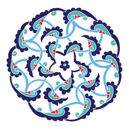 Iznik style penc or pentagram design, traditional Turkish ornament with stylized flourishes, circle design element Illustration