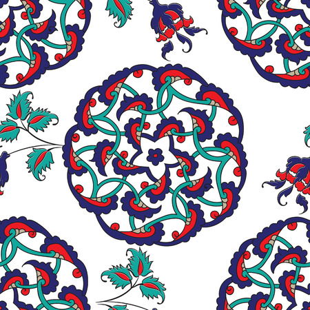 Turkish Iznik tile, seamless islamic pattern with pretty oriental curves and floral details, digital hand drawn symmetric tile design