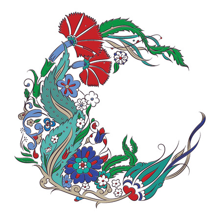 Stylized floral drawing, traditional Ottoman Turkish art, Iznik style decorative design element, circle copy space for your text