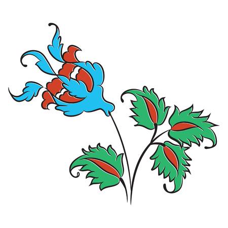 Stylized rose drawing, traditional Ottoman Turkish art, Iznik style decorative design element Illustration