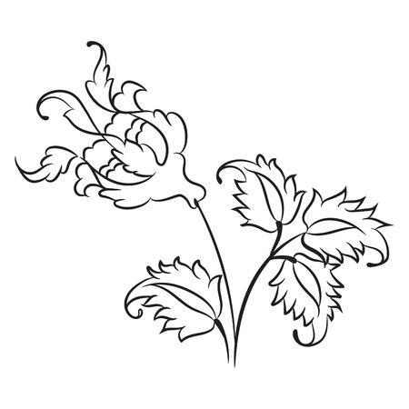 Stylized Rose Drawing Traditional Ottoman Turkish Art Iznik Style Decorative Design Element Stock Vector