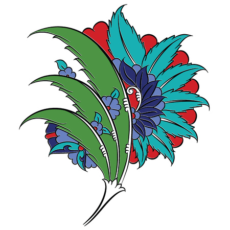 Stylized floral drawing, traditional Ottoman Turkish art, Iznik style decorative design element