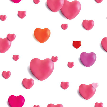 Decorative seamless pattern design with realistic glossy hearts, fully editable vector repeating background for weddings, valentines day, greeting cards and surface designs