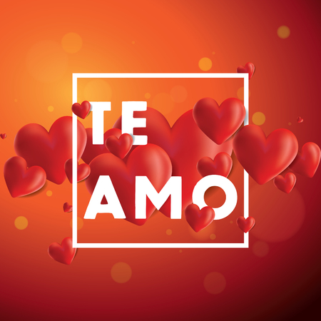 Decorative vector background with realistic 3D looking hearts created with gradient mesh, Te Amo (I love You in Spanish) typographic message Stock Photo