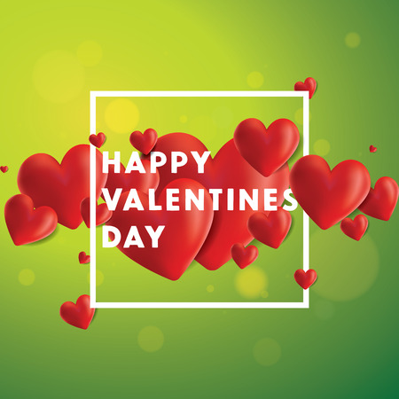 Decorative vector background with realistic 3D looking hearts created with gradient mesh, happy Valentines Day typographic message