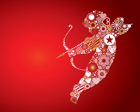 Valentines Day themed illustration, vector background with cupid throwing arrows made of abstract shapes, vibrant light effects and textured copy space