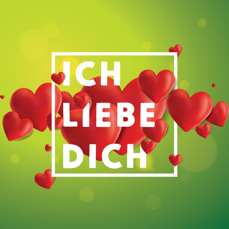 Decorative vector background with realistic 3D looking hearts created with gradient mesh, Ich Liebe Dich (I love You in German) typographic message