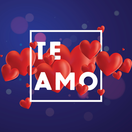 Decorative vector background with realistic 3D looking hearts created with gradient mesh, Te Amo (I love You in Spanish) typographic message