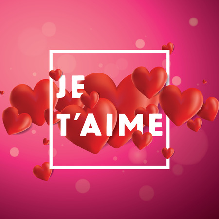 Decorative vector background with realistic 3D looking hearts created with gradient mesh, Je Taime (I love You in French) typographic message