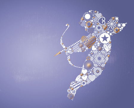 blue abstract: Valentines Day themed illustration, vector background with cupid throwing arrows made of abstract shapes, vibrant light effects and textured copy space