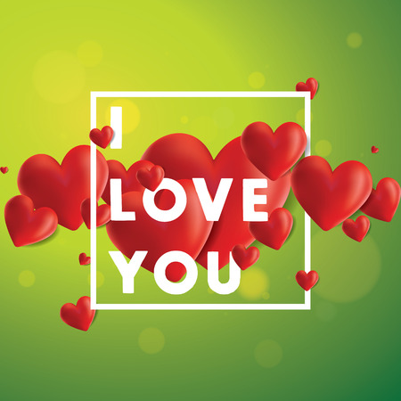 Decorative vector background with realistic 3D looking hearts created with gradient mesh, I Love You typographic message Illustration