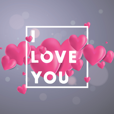 Decorative vector background with realistic 3D looking hearts created with gradient mesh, I Love You typographic message