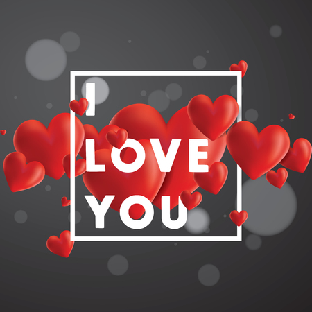 Decorative vector background with realistic 3D looking hearts created with gradient mesh, I Love You typographic message Vektoros illusztráció