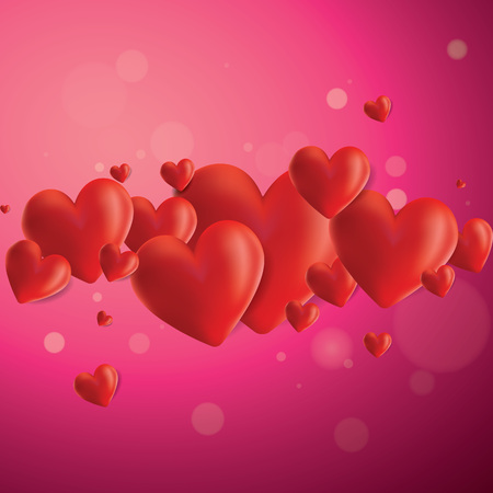 Decorative vector background with realistic 3D looking hearts created with gradient mesh for greeting cards, celebrations, flyers, covers, posters etc.