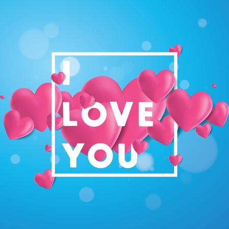 Décoratif vecteur de fond avec 3D réaliste coeurs créés avec filet de dégradé regardant, I Love You message typographique Illustration