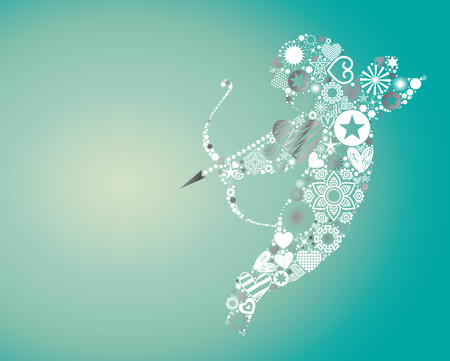 eros: Valentines Day themed illustration, vector background with cupid throwing arrows made of abstract shapes, vibrant light effects and textured copy space