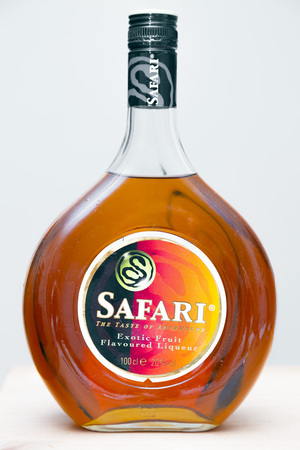 Istanbul, Turkey - March 3, 2017: Bottle of Safari 100cl, Exotic Fruit Flavored Liqueur. Made in Holland, the Safari is a popular cocktail ingredient, usually consumed with orange juice.