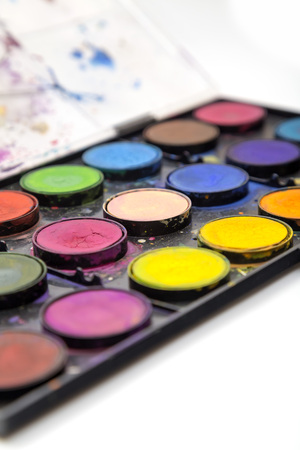 Set of watercolor paints studio close up
