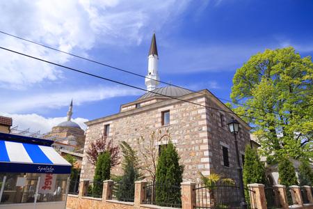 Skopje, Macedonia - April 5, 2017: Mustafa Pasha Pasha Mosque and Arasta Mosque, old Ottoman Turkish mosques in the Bushi district of Skopje.