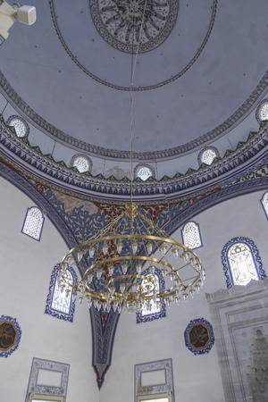 mustafa: Skopje, Macedonia - April 5, 2017: Interior of Mustafa Pasha Pasha Mosque, an old Ottoman Turkish mosque in the Bushi district of Skopje.