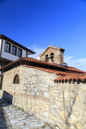 generic location: Generic architecture of Ohrid town in FYR Macedonia. Detail from an old church among hundreds in the small town. Stock Photo