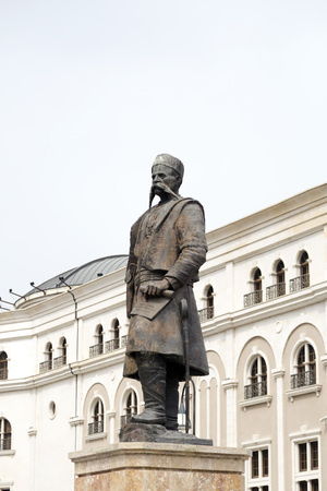nationalism: Skopje, Macedonia - April 4, 2017: Statue of Georgi Pulevski, a major figure who endorsed the concept of an ethnic Macedonian identity resulting in the founding of Macedonian nationalism