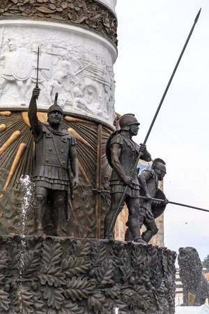 central european: Monument of Alexander the Great and falanga warriors at the Macedonian Square, downtown of Skopje, Macedonia