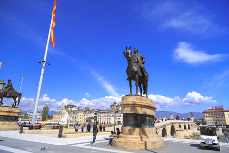 dramatist: Skopje, Macedonia - April 5, 2017: Bronze sculpture of Goce Delchev in downtown Skopje, Macedonia Editorial