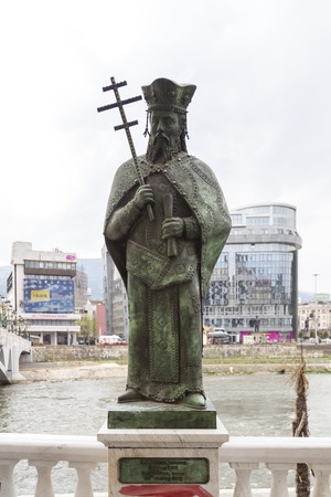 serb: Skopje, Macedonia - April 4, 2017: Bronze sculpture of Ugljesa Mrnjavcevic in Skopje, Macedonia Editorial