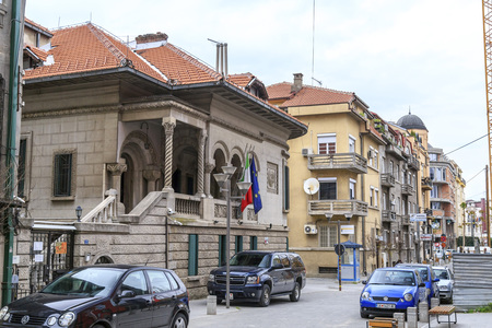 consulate: Skopje, Macedonia - April 4, 2017: View from the central district of Skopje, the Macedonian capital. Italian consulate building on the left side. Editorial