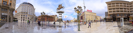 Skopje, Macedonia - April 5, 2017: Panoramic view of the monument of Alexander the Great and falanga warriors at the Macedonian Square, Skopje, Macedonia.
