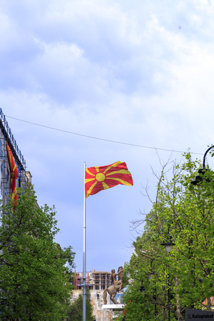 Skopje, Macedonia - April 5, 2017: Monument of Alexander the Great and falanga warriors at the Macedonian Square, downtown of Skopje, Macedonia Editorial