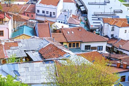Skopje, Macedonia - April 5, 2017: Aerial view from Bushi district of Skopje, the Macedonian capital.