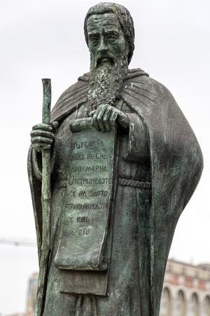 Skopje, Macedonia - April 4, 2017: Bronze sculpture of St. Joachim of Osogovo in downtown Skopje, Macedonia Editorial