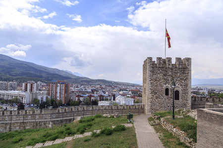 Skopje, Macedonia - April 5, 2017: Kale fortress, medieval Ottoman fortress overlooking the city of Skopje, Macedonia.