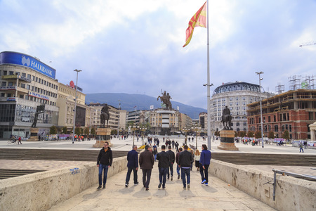 Skopje, Macedonia - April 4, 2017: Monument of Alexander the Great and falanga warriors at the Macedonian Square, downtown of Skopje, Macedonia Editorial