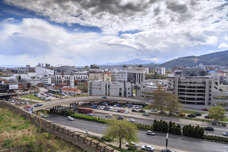 Skopje, Macedonia - April 5, 2017: Cityscape view of Skopje from Kale fortress, medieval Ottoman fortress overlooking the city. Editorial