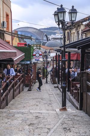 Skopje, Macedonia - April 4, 2017: Old Turkish bazaar and neighborhood of Skopje, the Macedonian capital. Named locally stara carsija, the bazaar reflects the Ottoman history of the city.