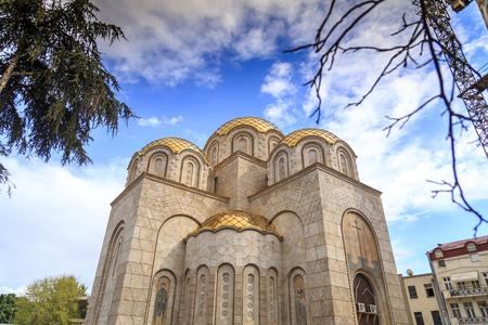 Skopje, Macedonia - April 5, 2017: New othodox church under construction next to the Memorial House of Mother Teresa, Skopje, Macedonia Editorial