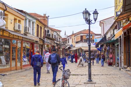 Skopje, Macedonia - April 9, 2017: Old Turkish bazaar and neighborhood of Skopje, the Macedonian capital. Named locally stara carsija, the bazaar reflects the Ottoman history of the city.