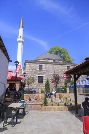 Skopje, Macedonia - April 5, 2017: Exterior view of Arasta Mosque in Bushi district of Skopje, the Macedonian capital.