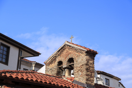 generic location: Ohrid, Macedonia - April 7, 2017: Generic architecture of Ohrid town in FYR Macedonia. Detail from an old church among hundreds in the small town. Editorial