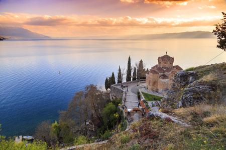 Ohrid, Macedonia - April 7, 2017: Cliff-top church of Saint Joan at Kaneo or St. Jovan Kaneo over Ohrid Lake, Macedonia.