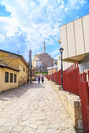 Skopje, Macedonia - April 5, 2017: Mustafa Pasha Pasha Mosque, an old Ottoman Turkish mosque in the Bushi district of Skopje.