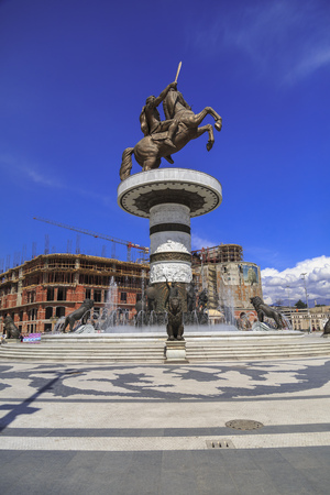 Skopje, Macedonia - April 5, 2017: Monument of Alexander the Great and falanga warriors at the Macedonian Square, downtown of Skopje, Macedonia Editorial