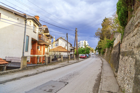 Skopje, Macedonia - April 5, 2017: View from Tsrniche district of Skopje, the Macedonian capital.