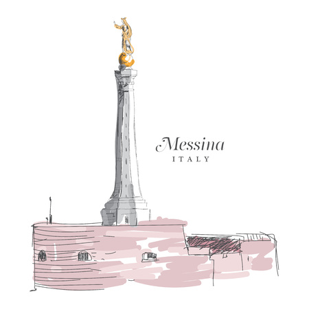Freehand digital drawing of Messina, Italy. Sketchy doodle lines and sloppy coloring, touristic travel destination concept, vector illustration.