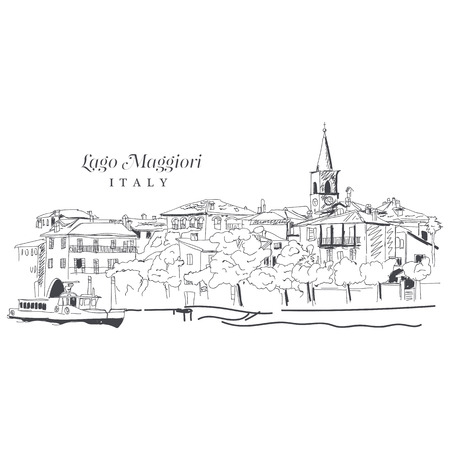 Freehand digital drawing, Italy Sketchy doodle lines and sloppy coloring, touristic travel destination concept in vector illustration.