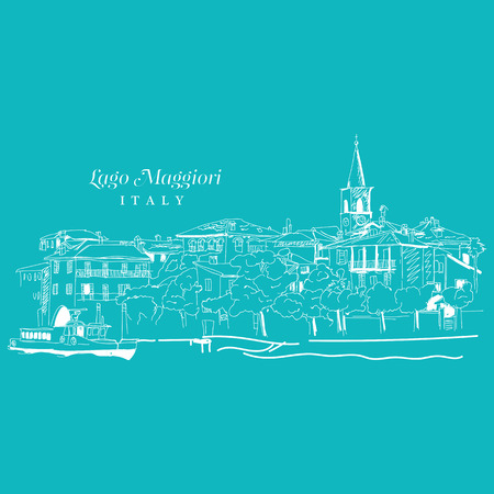 Freehand digital drawing of Lago Maggiore, Italy Sketchy doodle lines and sloppy coloring, touristic travel destination concept, vector illustration.